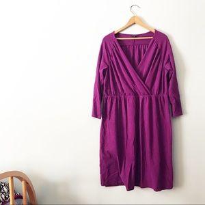 Landsend Faux Wrap Purple Long Sleeved Dress